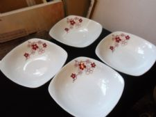4 X ORIENTAL DESIGN ASDA BLOSSOM SQUARE SOUP CEREAL BOWLS GREAT CONDITION